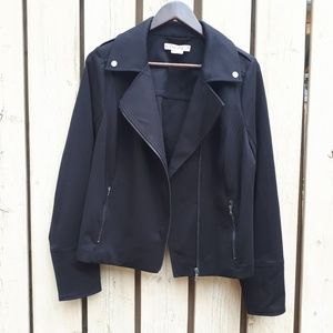 Black Fabric Moto Jacket by In Every Story